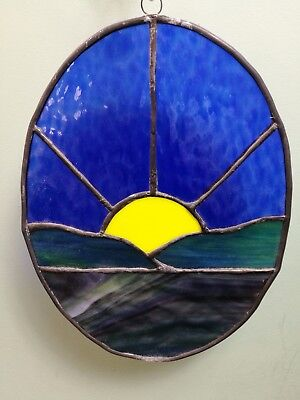 "Vintage Oval Stained Glass Panel With Lead Lining  11"" x 8"""