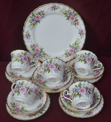 Royal Kendal Tea Set For 5 Pink Roses & Gilt Fine Bone China  Weddings
