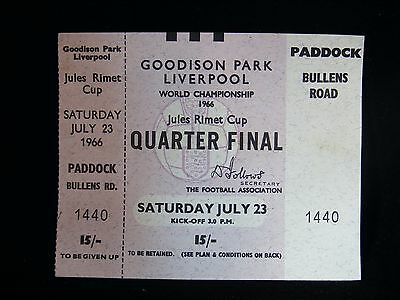 Rare 1966 World Cup  Quarter Final Ticket Never Used