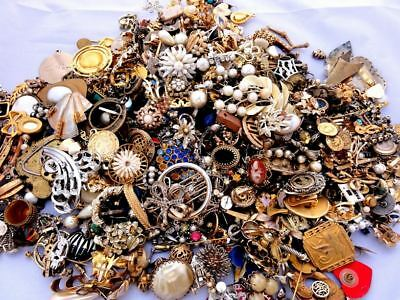 1kg Bag of Mixed Used Vintage Costume Jewellery inc Watches Re-Sell Crafting