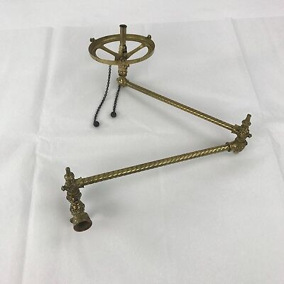 Vintage Victorian Ornate Brass Swing Arm Gas Light Wall Sconce Fixture NO Shade