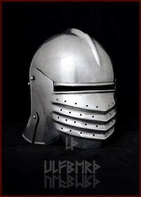 Bellows Face Sallet medieval helmet 2mm steel 15th knight armour LARP SCA HEMA