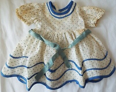"""Ideal 1930's STAND UP AND CHEER Blue Small Dot Dress for 18"""" SHIRLEY TEMPLE Doll"""