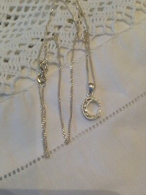 """Sterling Silver Initial Letter C Pendant & 18"""" Curb Chain"""