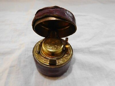 Antique Travelling Ink Well, Brass With A Glass Liner And Leather Outer Covering