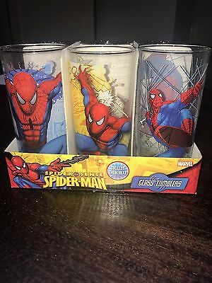 RARE!! Box set of 6 authentic Spider Man Glass Tumblers  - Brand New In Box!!