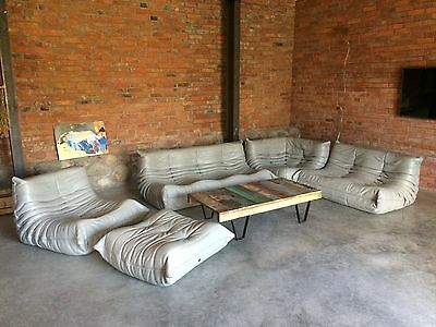 Ligne Roset TOGO Set 1x3,1x2,1 Seat, corner, pouffe, new light grey Leather!