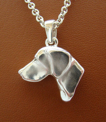 Large Sterling Silver German Shorthaired Pointer Large Head Study Pendant