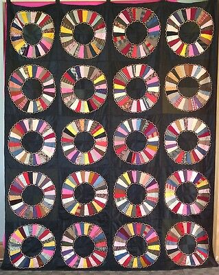 Antique Vibrant Wagon Wheel Quilt Wall Hanging Black Vintage Embroidered Accent
