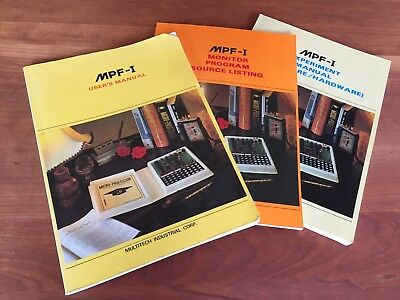 3 Multitech MPF-1 Manuals, User's + Experiment Manual, Monitor Program Listing