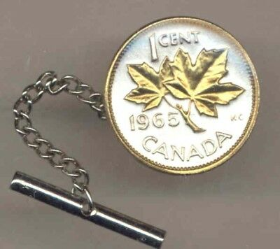 Canada 1 Cent Maple Leaf Coin Gold On Silver Tie or Hat Tack Mans Christmas Gift