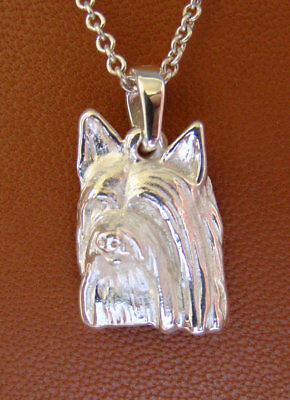 Small Sterling Silver Silky Terrier Pendant