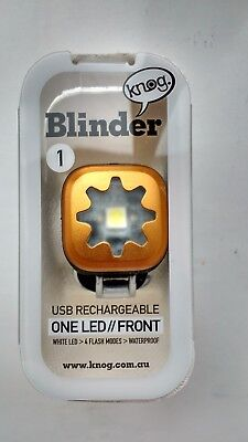 Gold Knog Blinder 1 One LED USB Rechareable Front Cycle / Bike Light