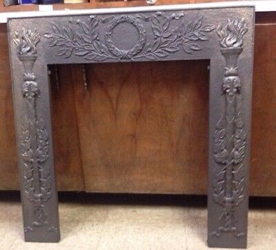Antique Cast Iron Fireplace Surround Wreath And Torch Motif High Relief *sale*