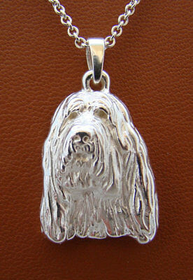 Large Sterling Silver Otter Hound Head Study Pendant
