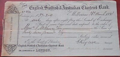 English, Scottish & Australian Chartered Bank used Sixty Day Sight cheque 1891