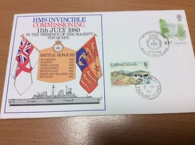 1980 Commissioning HMS Invincible Maritime Cover Doubled Falkland Islands 1982