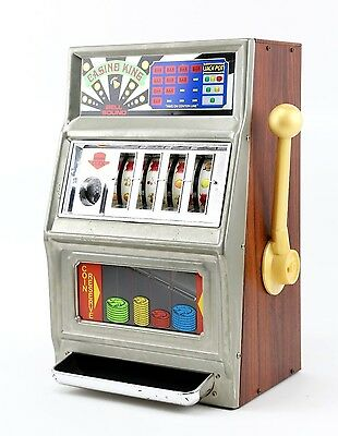 Waco Casino King One Arm Bandit Vintage Slot Machine Coin Bank Bell Ring Jackpot