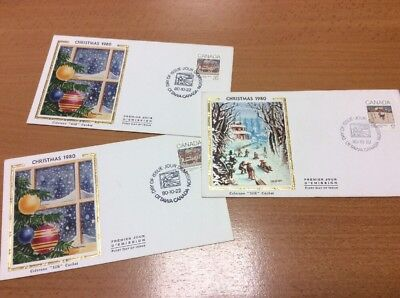 1980 Canada Colorano Silk Christmas First Day Covers