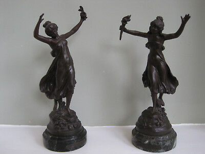 A Pair of 19th Century Spelter Figures on Marble Plinths after Moreau