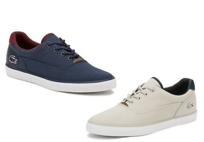 Lacoste Mens Light Grey or Navy Blue Trainers, Jouer 317 1 Canvas Casual Shoes