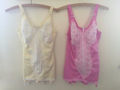 Pink Or Yellow 38C Vintage Zip Front Corselette Open Bottom Girdle & Suspenders