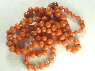Antique Victorian Salmon Undyed Coral Beads Necklace Gold Coral Clasp 27.4G