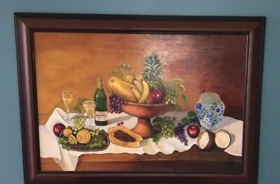 M.Steve-Apples-Still Life-Original Oil Painting on Canvas-Hand Signed and Framed