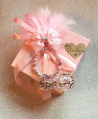 Pram Charm Silver Plated Rattle Made With Swarvoski Crystals Romany Bling