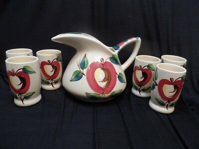 Purinton Apple Pitcher and 6 Tumblers