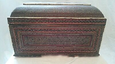 Large Vintage Persian Khatam Inlaid Casket Box