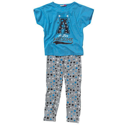 Cozy n Dozy Girls A Is For Awesome Pyjama Set Slouchy Tee and Leggings Blue Grey