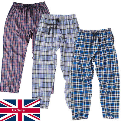 Bedlam Older Boys Long Pyjama Trousers Bottoms Lounge Pants Checked Blue Black
