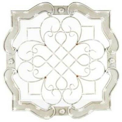 Antique Cream Wood & Metal Wall Decor   White Metal Medallion HUGE PIECE!