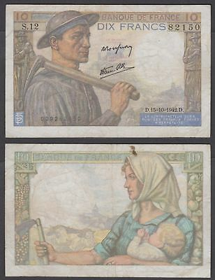 France 10 Francs 1942 (aVF) Conition Banknote KM #99d