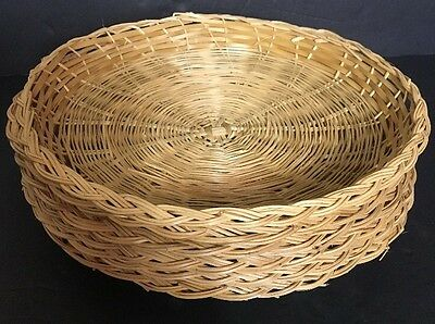 """Vintage 10"""" Wicker Rattan Party Picnic Paper Plate Holders Set Of 6"""