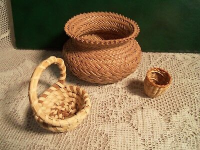 "Vintage 3 Mini Sweet Grass Baskets Tagged ""carolina Sweet Grass"""