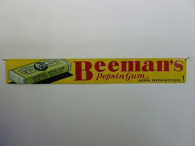 Antique original 1935 Beeman's pepsin chewing gum door push sign 17 3'8 x 2 3/8""