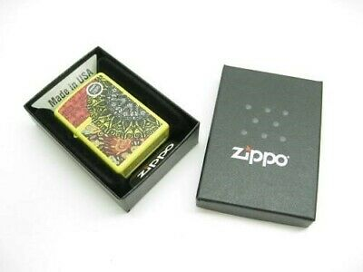Zippo Full Size Lemon Matte Scroll Sun Design Classic Windproof Lighter 28850
