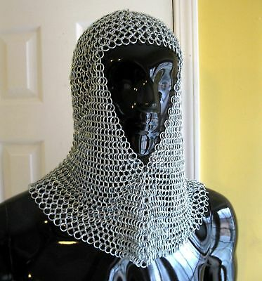 Chain Mail Chainmail Medieval Renaissance Armor Adult Steel Coif z1