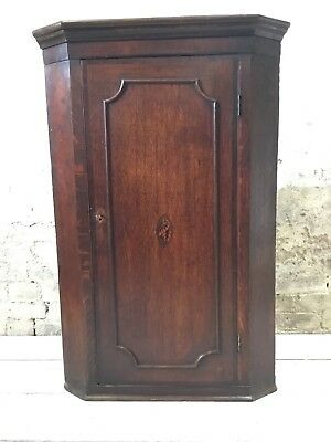ANTIQUE e19TH c OAK LONG CASE HANGING CORNER CABINET with SHELL INLAY. LOCK&KEY!