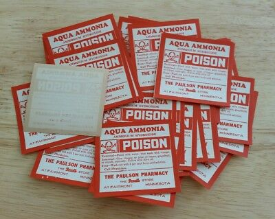 50 Vintage AQUA AMMONIA Poison Pharmacy Apothecary Labels NOT REPRODUCTIONS