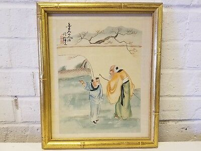 Japanese Embroidered Silk Framed Art of an Old Man & Child