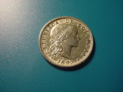 Colombia - Silver - 1897 10-Centavos In Very Nice Condition