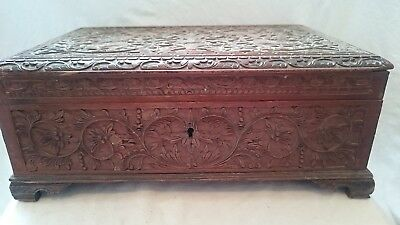 Antique Carved Indian ? Indonesian ? Rectangular Box
