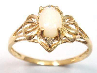 Syjewellery 9Ct Yellow Gold Oval Natural Opal & Diamond Ring Size  N   R1060