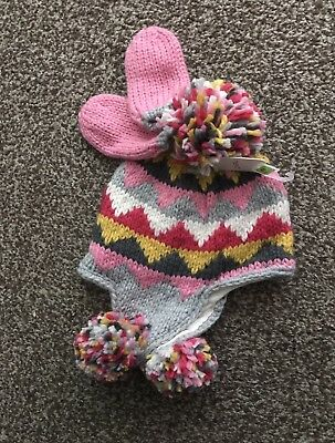 Next Grey Patterned Knitted Trapper Hat & Mittens Age 1 ~ 2 Yrs Bnwt