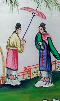 Beautiful 19Th Century Chinese Watercolor On Pith/rice Paper