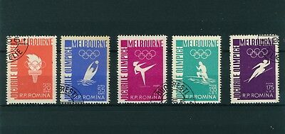 Romania 1956 Melbourne Olympic Games Set of Stamps. Used.