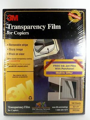3M Transparency Film for Copiers PP2200 100 Sheets New Sealed!!